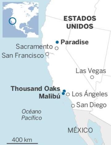 Al menos 31 muertos y un centenar de desaparecidos en los incendios de California