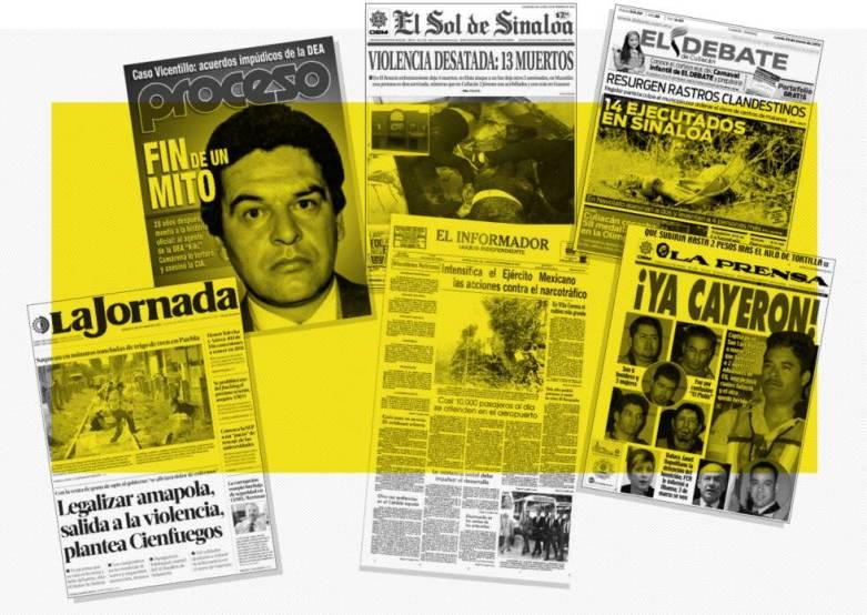 Portadas sobre el narco de distintos medios mexicanos.