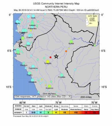 Terremoto sacode Peru e países vizinhos e é sentido em Manaus