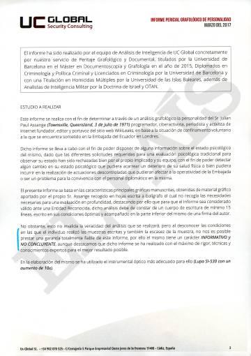 Estudio grafológico sobre Julián Assange hecho por UC Global.S.L.
