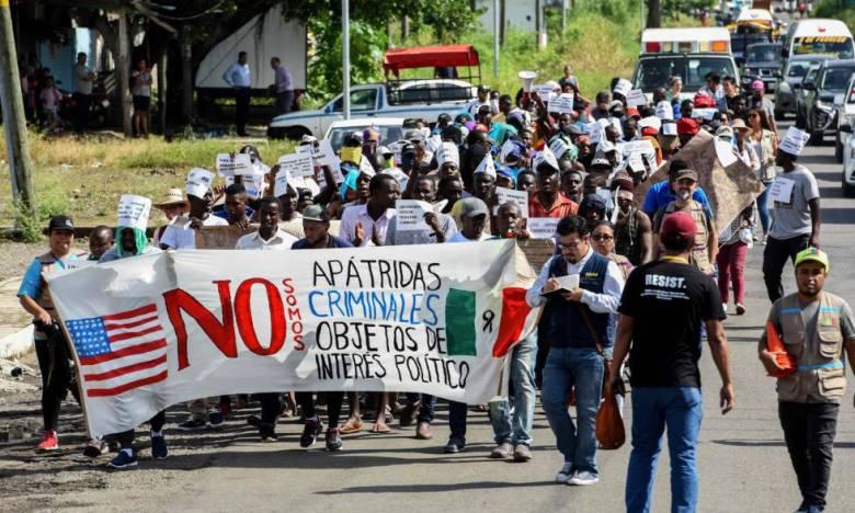 Una protesta de inmigrantes africanos en México.