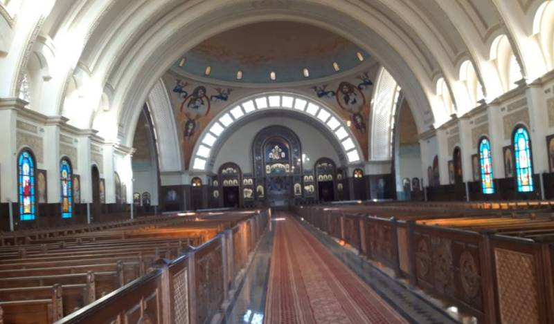 Interior of the Coptic Cathedral of the Nativity in the new Egyptian administrative capital.