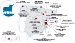 Mapa de las medidas sobre tauromaquia en España