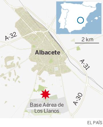 Mapa de localización del accidente del Eurofighter
