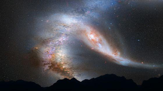 Composición fotográfica del choque de la Vía Láctea y Andrómeda. NASA