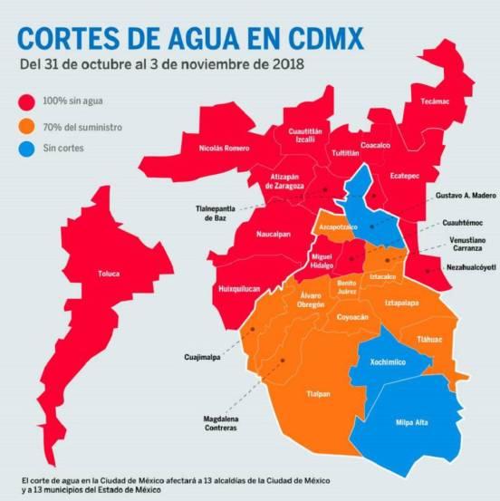 Todas las alcaldías y municipios afectados por el corte de agua en Ciudad de México
