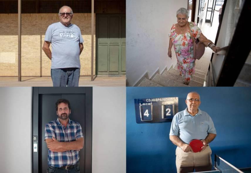 De izquierda a derecha y de arriba abajo. Andrés García, presidente de la asociación; la vecina Paula Carranza; el arquitecto Sergio Gómez y el entrenador nacional de tenis de mesa Leopoldo Mata.