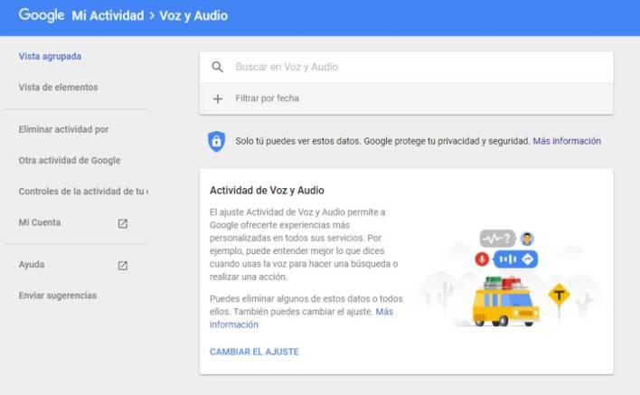Cualquier usuario puede desactivar el almacenamiento de audios y eliminar el histórico de Google.