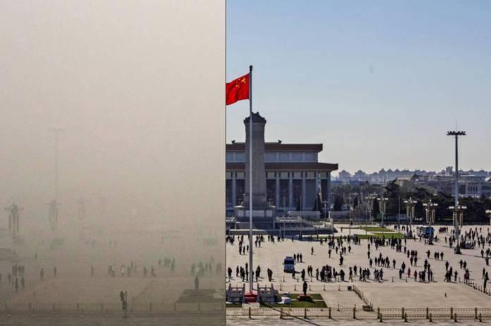 Antes y el después de los niveles de polución en varios lugares emblemáticos de Pekín, en diciembre de 2015.