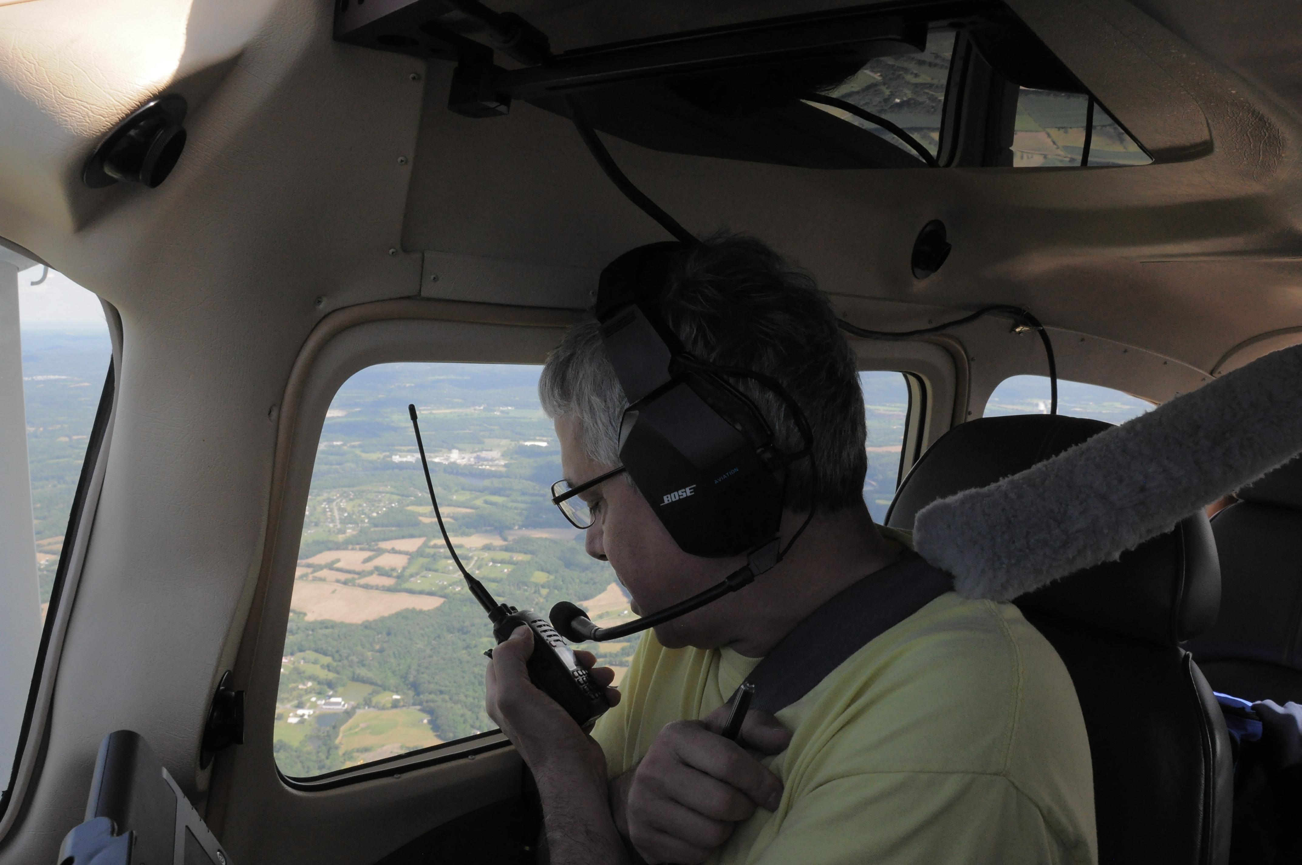 K3RF in copilots seat talking to a group on the ground