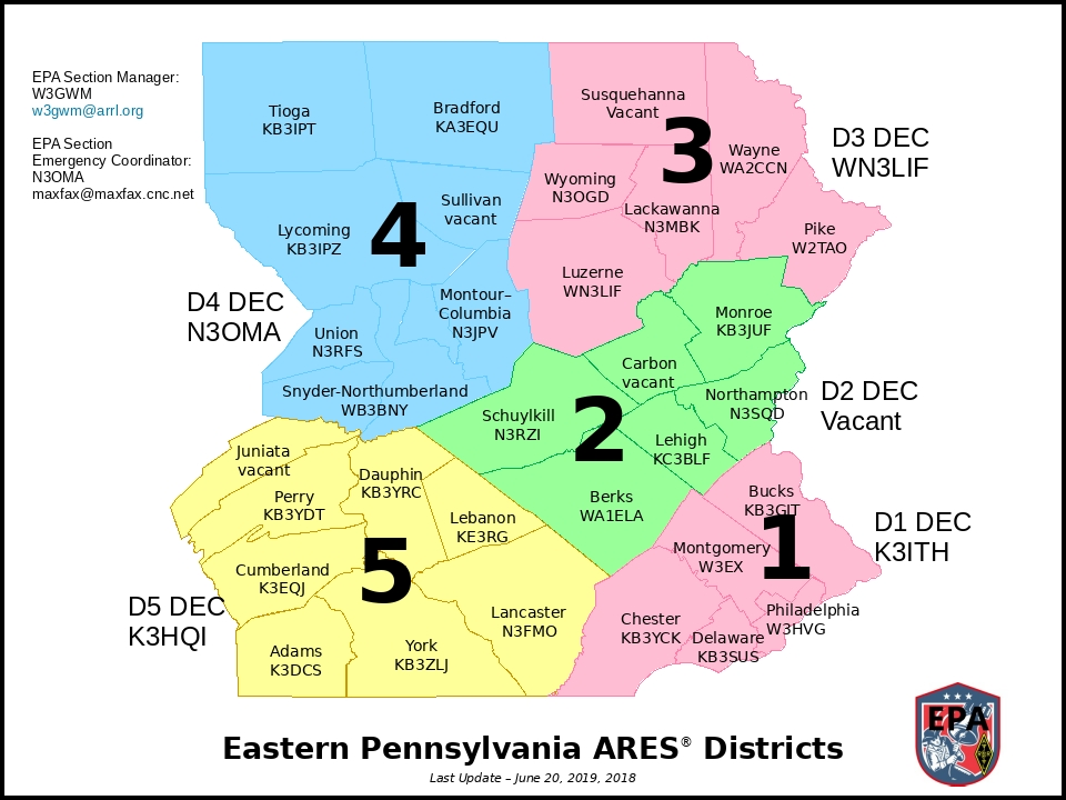 ARRL EPA Section Map