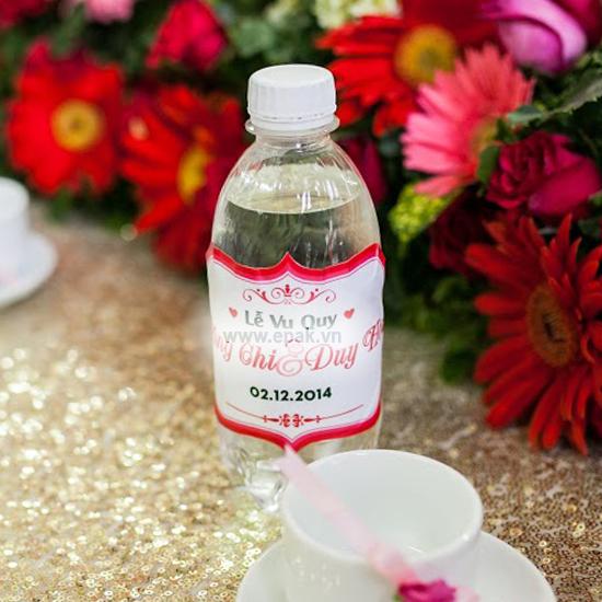 in nhãn dán chai nước đám cưới, hội nghị