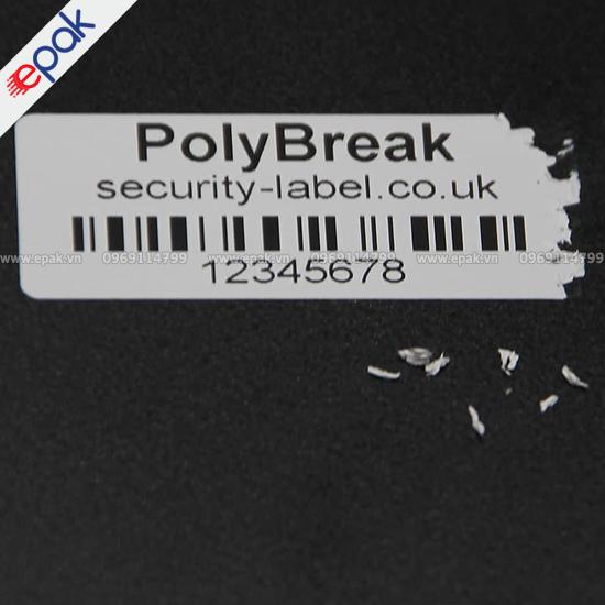tem vỡ in mã vạch dán lên máy móc