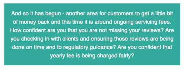 Text about fees