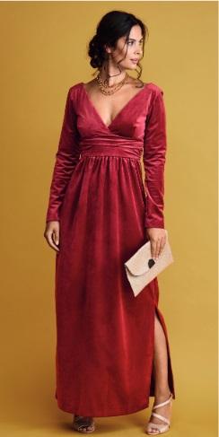 Вечернее платье-миди из бархата