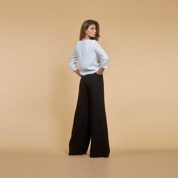 Льняные широкие брюки
