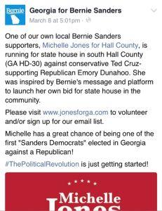 Michelle Jones Supports Bernie Sanders Too