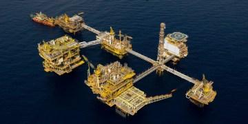Aerial view of E11 Offshore Platform  E11 offshore platform, Malaysia