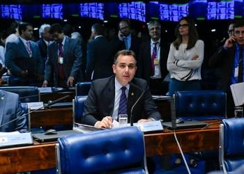 Em pronunciamento, à bancada, senador Rodrigo Pacheco (DEM-MG). Foto: Roque de Sá/Agência Senad
