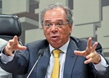 O ministro Paulo Guedes em audiência no Senado. Sua pasta fará proposta de nova divisão do fundo social do pré-sal / foto: Agência Senado
