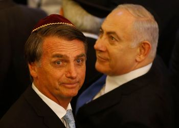 O presidente Jair Bolsonaro e o primeiro-ministro de Israel, Benjamin Netanyahu, visitam a  sinagoga em Copacabana / Foto: EBC