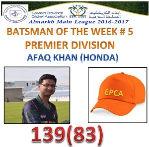Orange Cap Holder  Week # 5 Premier Division