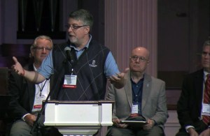 COA member Dean Weaver of the Presbytery of the Alleghenies presents a portion of the COA report, with (left to right) Scott Griffin, Bill Enns, and Jeff Jeremiah.