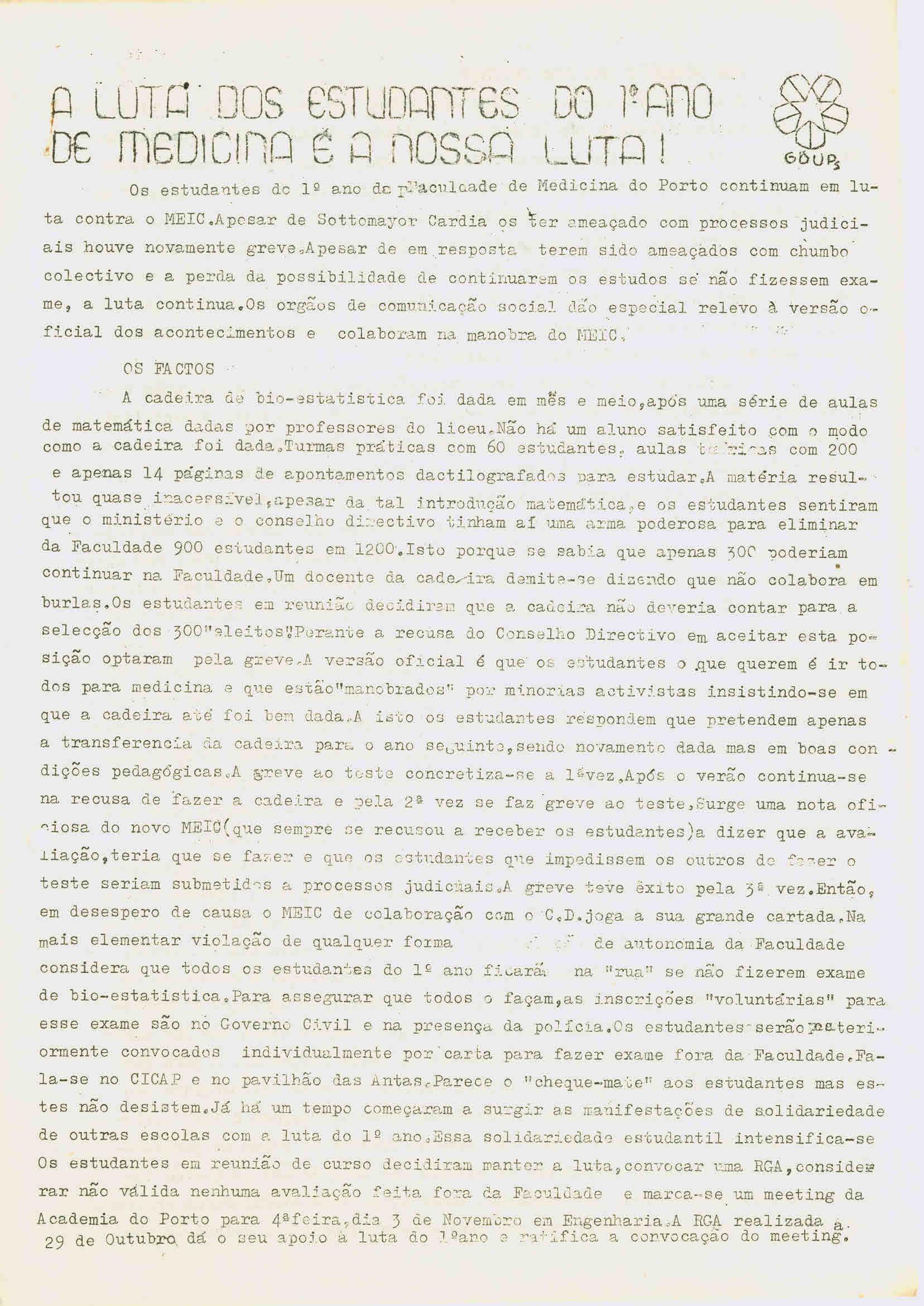 Copy of A luta dos estudantes do 1º ano de Medicina