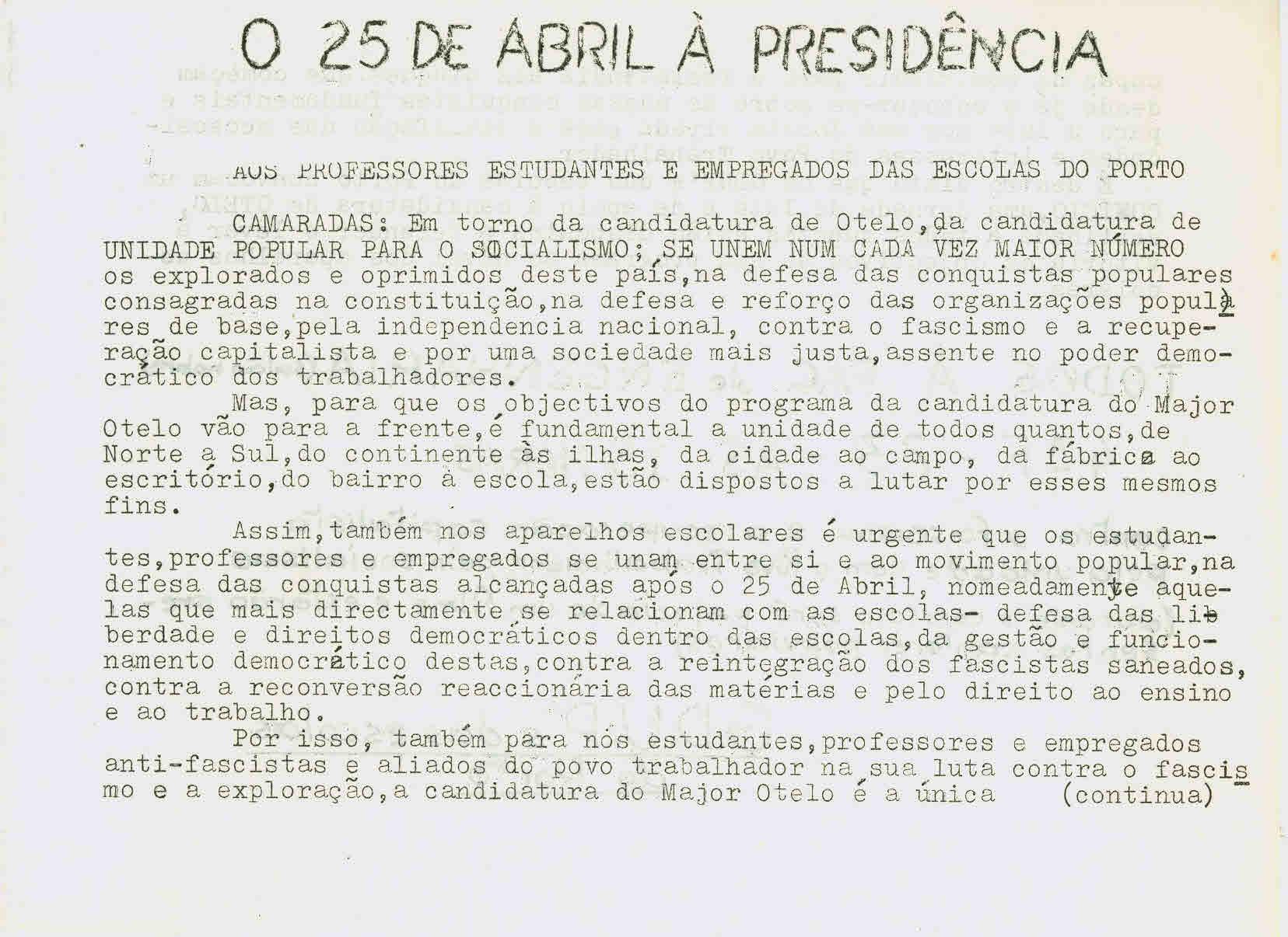O 25 de Abril à presidência