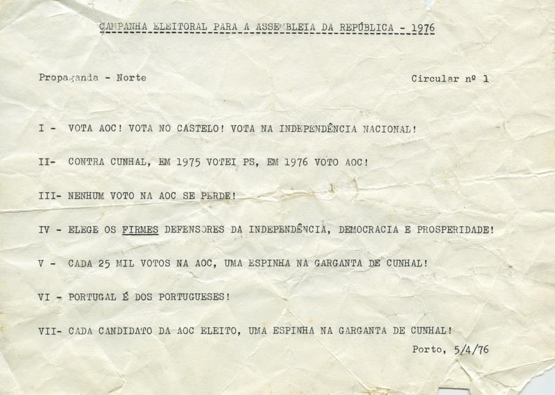 AOC_CAMPANHA_ELEITORALparaASSEMBLEIAdaREPUBLICA_1976_NORTE_CIRCULAR_N1_BR
