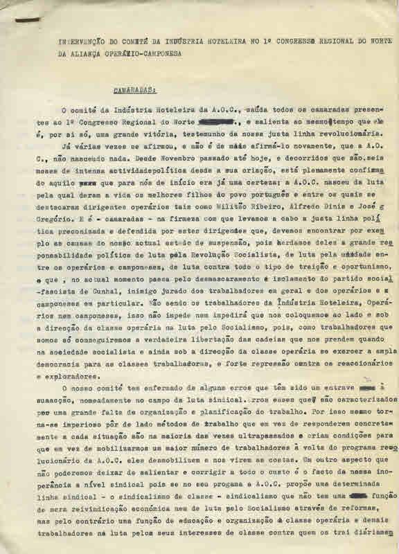 AOC_INTERVENÇAOdoCOMITEdaHOTELARIAno1CONGRESSO_REGIONAL_NORTEdaAOC