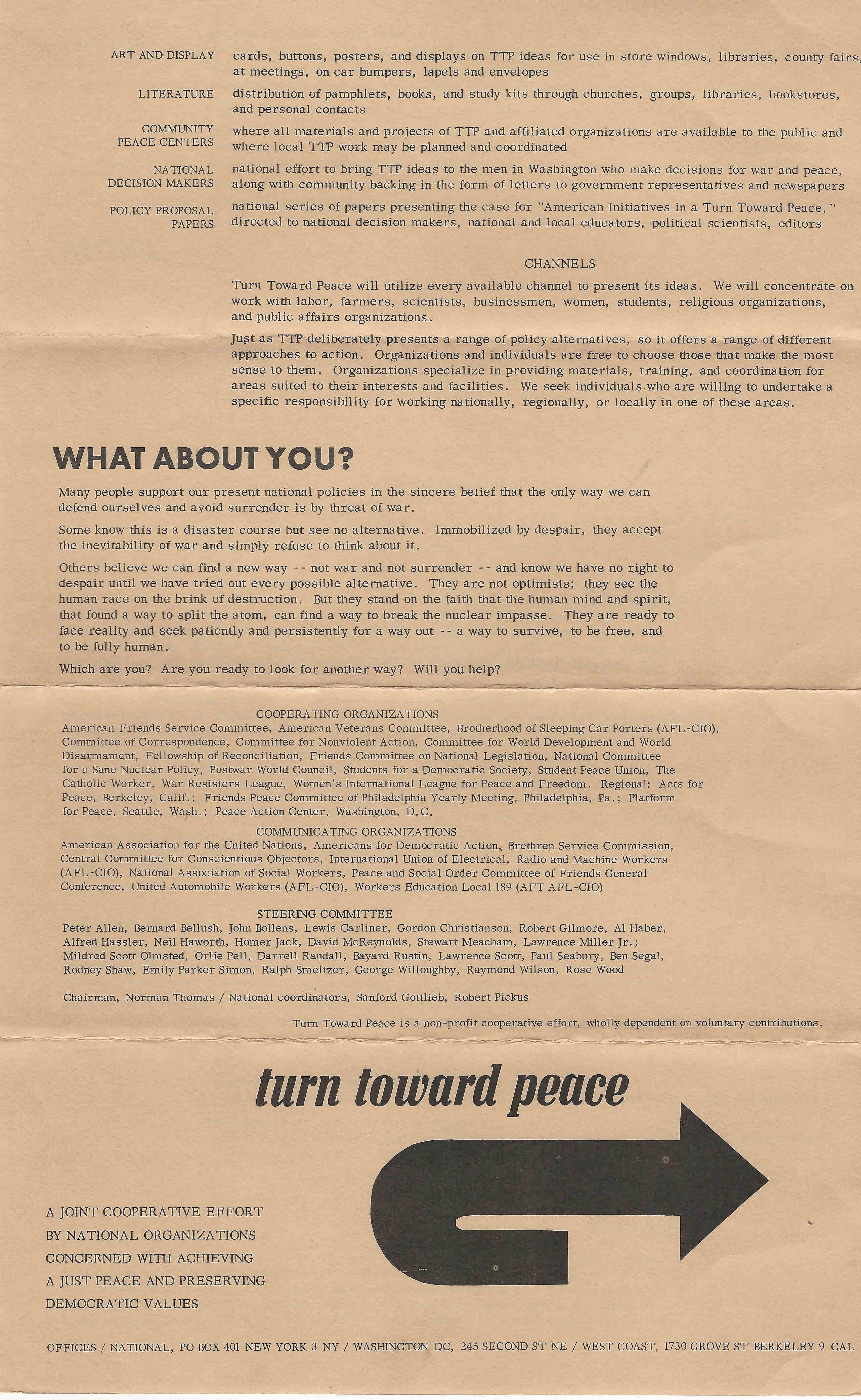 Eua turn toward peace ephemera biblioteca e arquivo de jos eua turn toward peace fandeluxe Gallery
