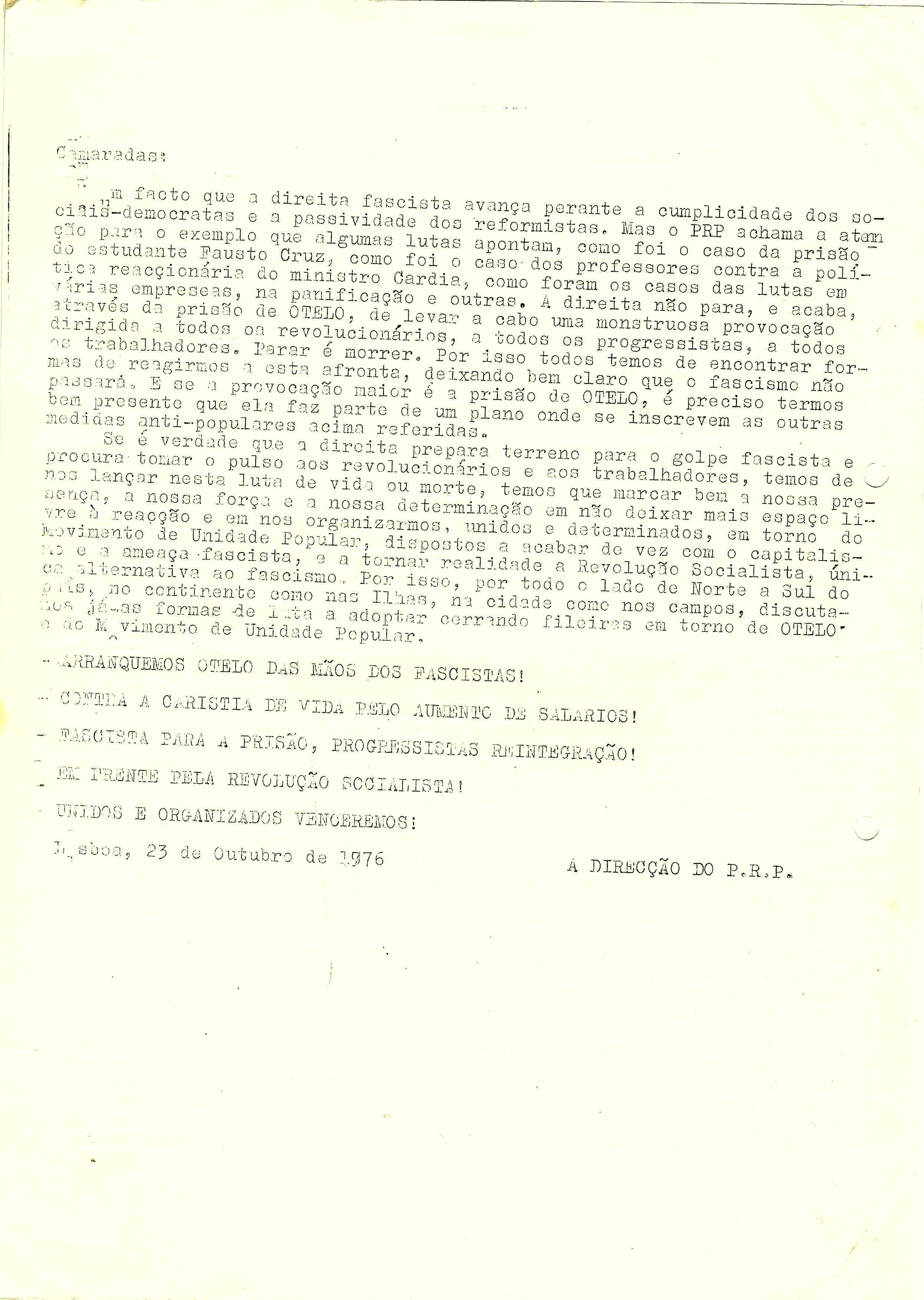 COMUNICADO ARRANQUEMOS OTELO DAS MÃOS DOS FASCISTAS – PRP 23-10-76 2