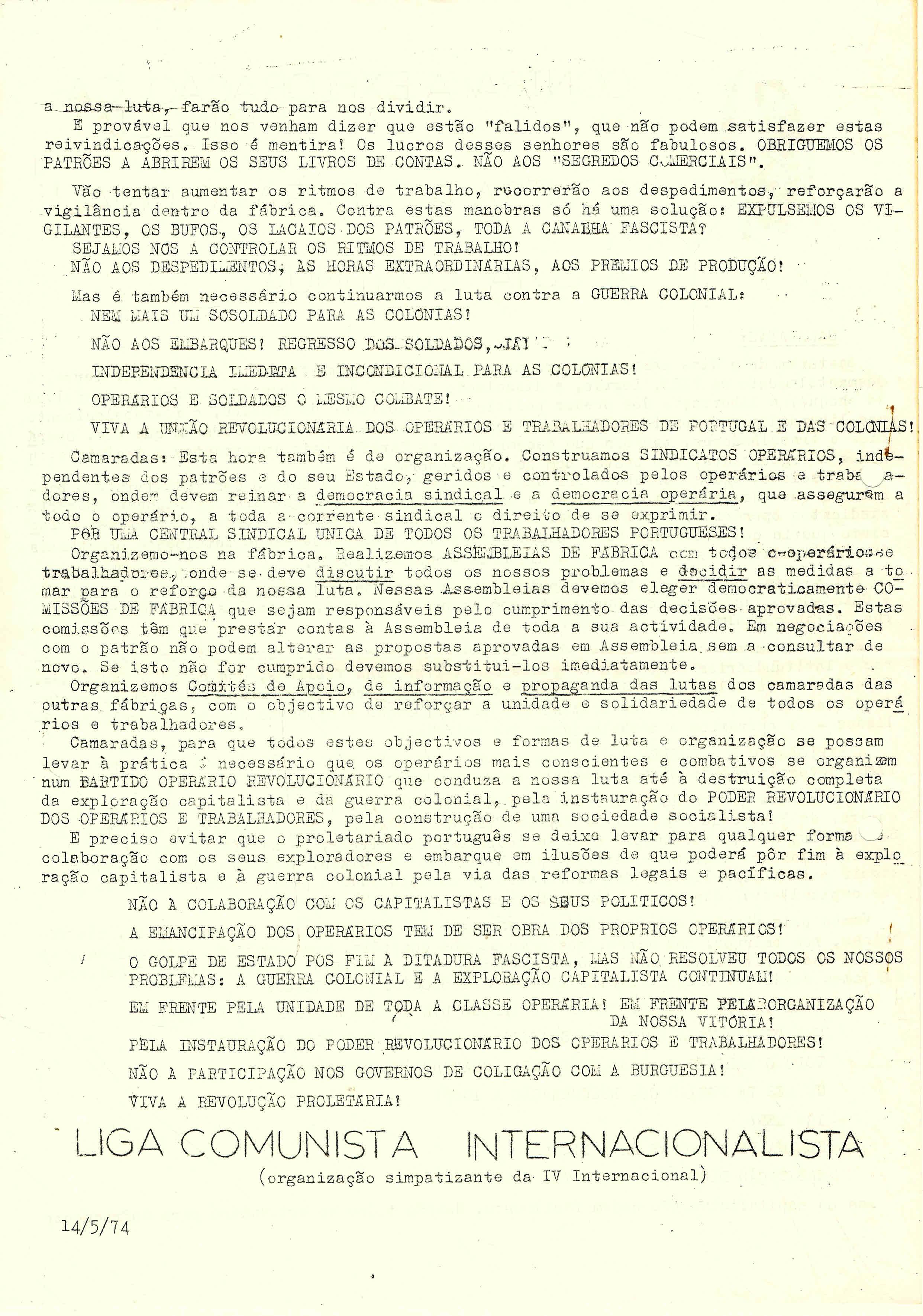 CONTRA A EXPLORACAO CAPITALISTA – LCI – 14-05-74 2