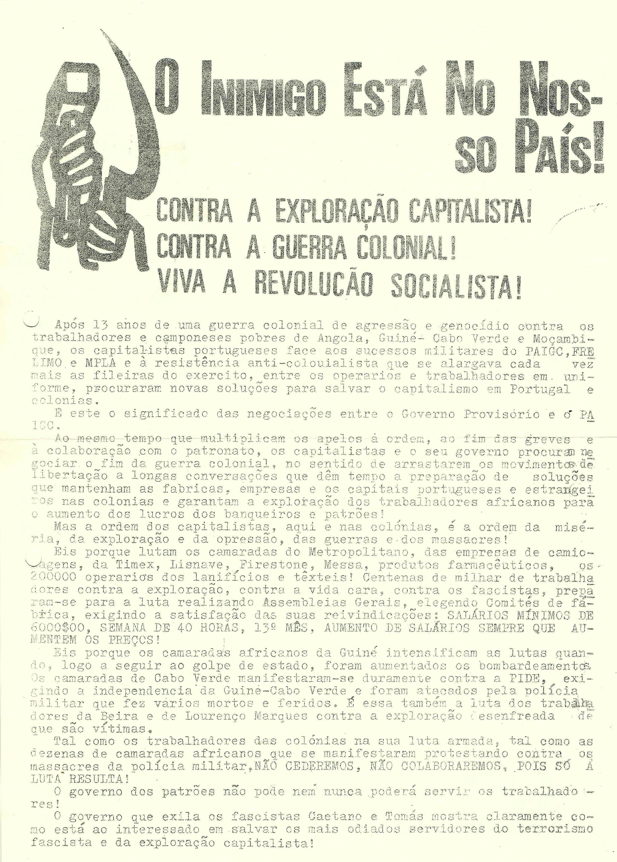 O INIMIGO ESTÁ NO NOSSO PAIS – LCI – 25-05-74 1