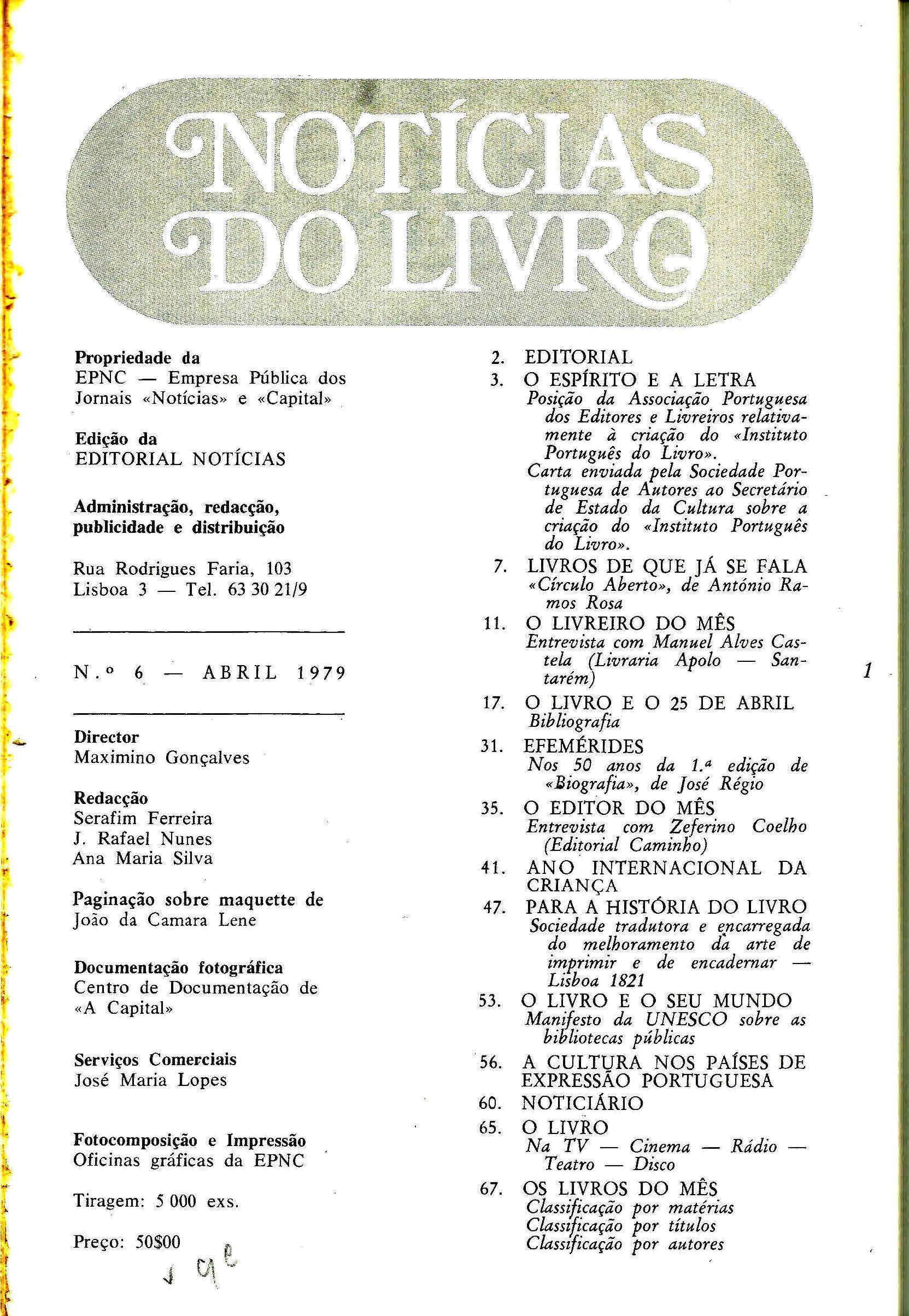 Notícias do Livro Abril 1979 n 6 índice
