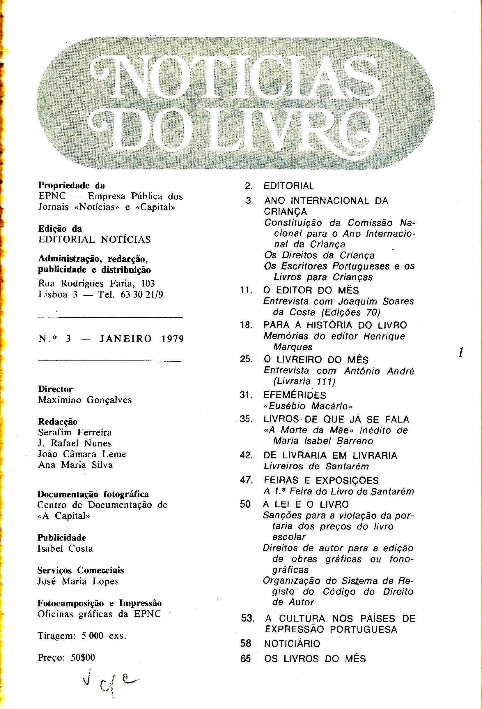 Notícias do Livro Janeiro 1979 n 3 índice