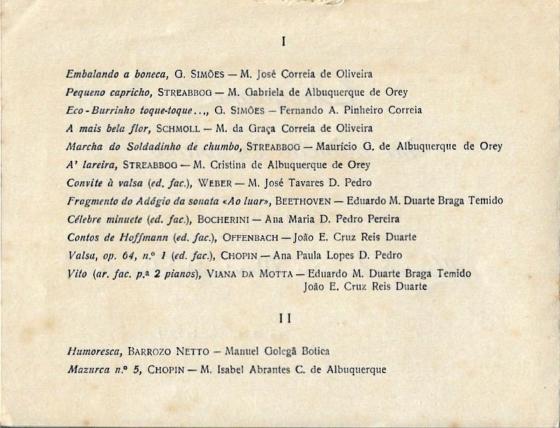 PROGRAMA DA AUDIÇÃO DE PIANO DOS ALUNOS DE MARIA DE LOURDES NASCIMENTO DUARTE – 28 DE ABRIL DE 1951 3