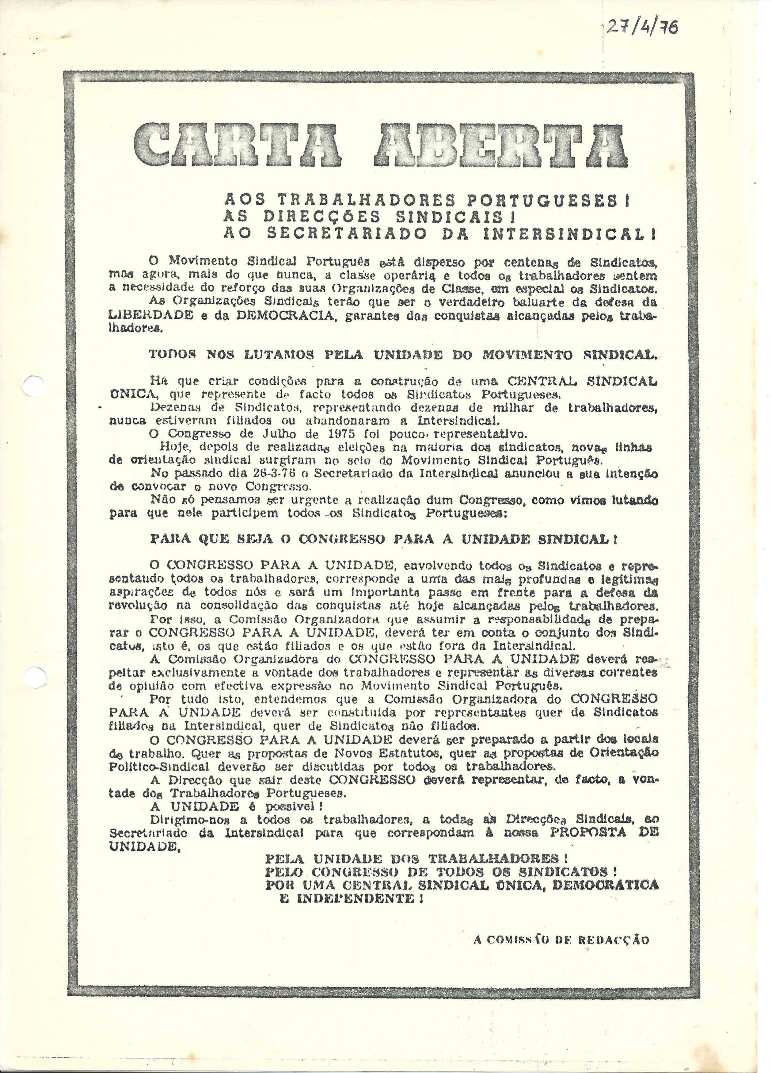 carta aberta 1976