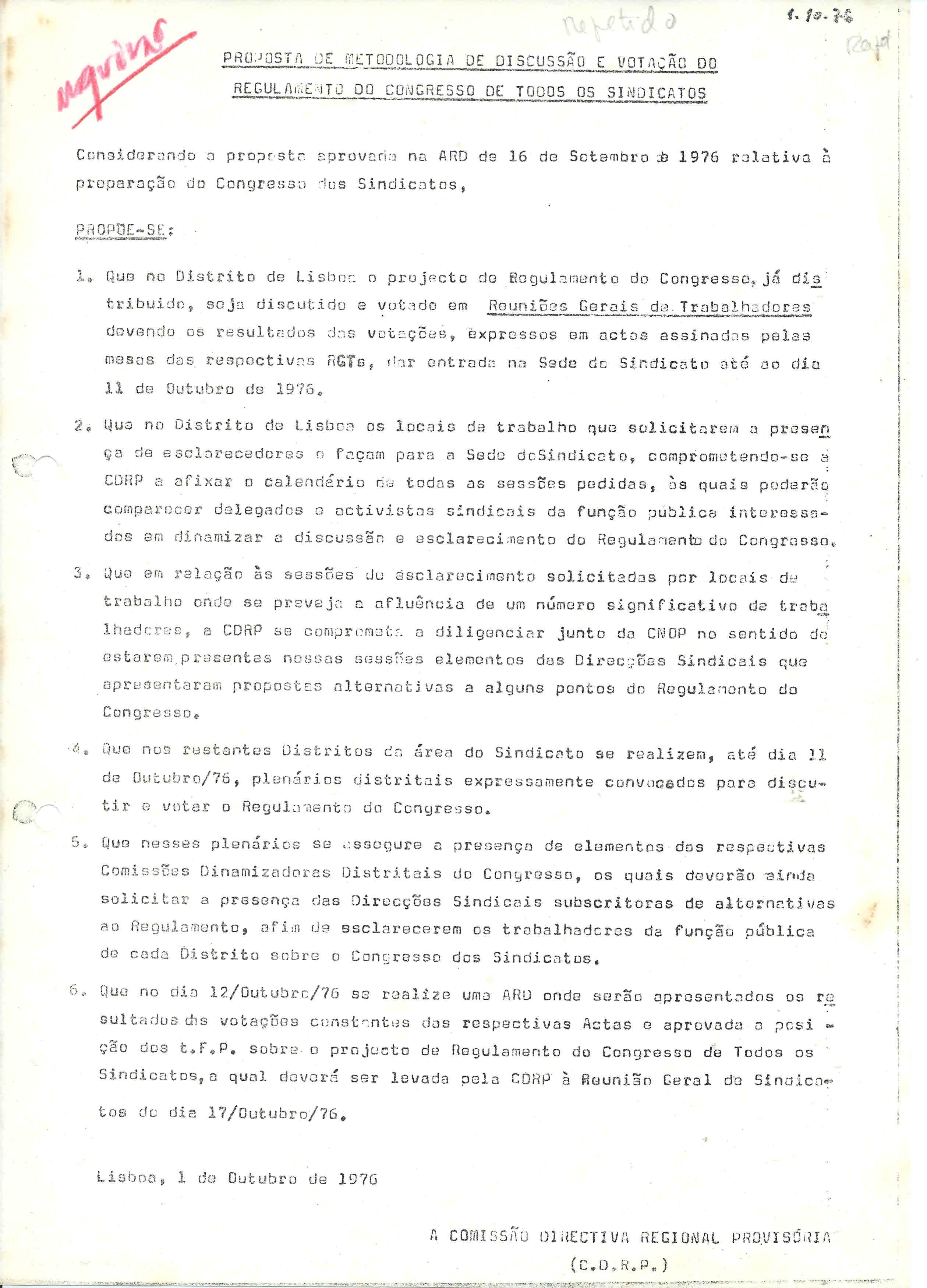 intersindical metodologia o congresso 1976
