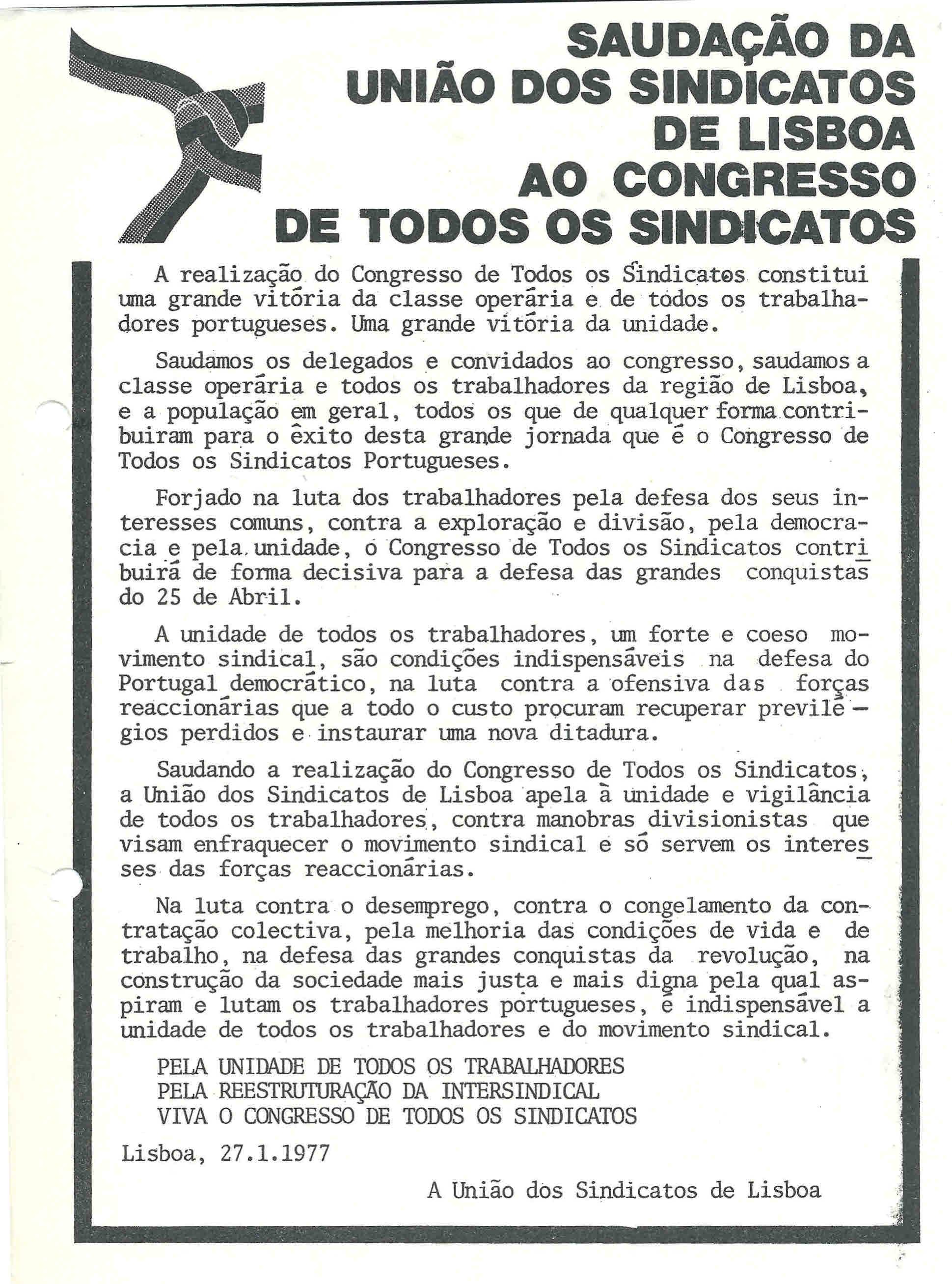 usl congresso de todos os sindicatos 1977