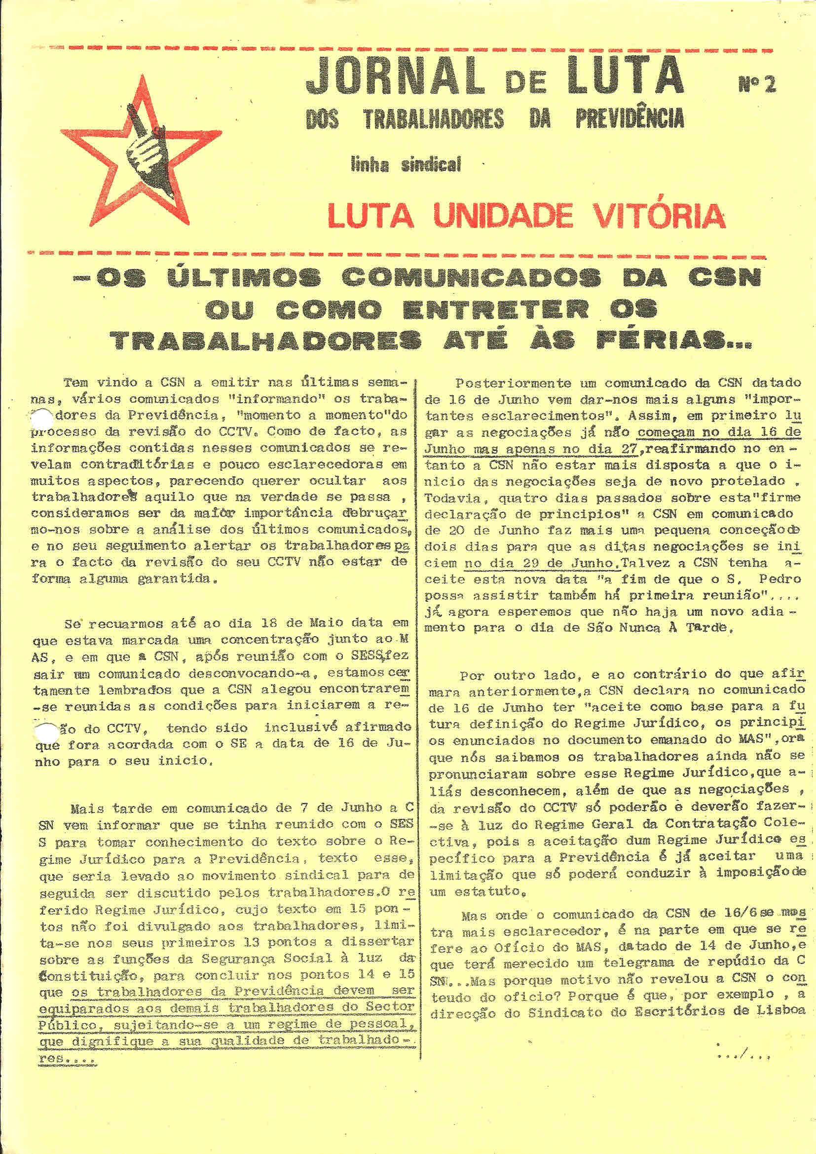 1 Sind Trab Previdência Jornal de Luta n 2 Junho 1977 1