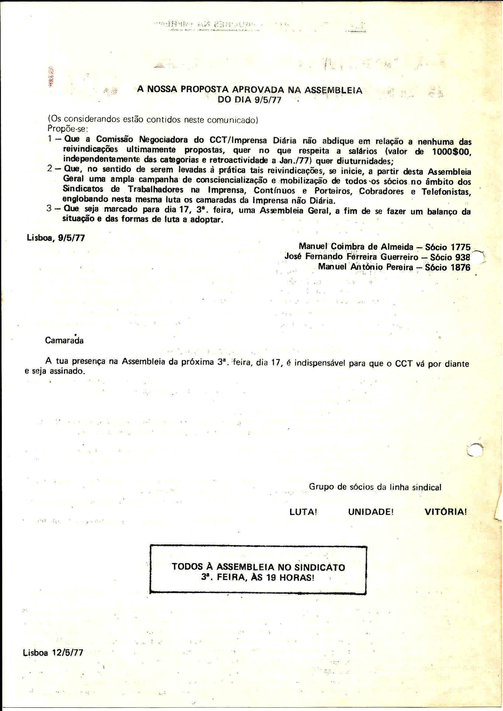 2 Sind Trab Imprensa Luta pelo CCT Maio 1977 2