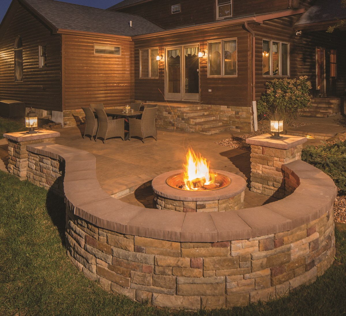 47_Rustic, outdoor evening scene with lit fire pit. Small ... on Pavers Patio With Fire Pit id=42608