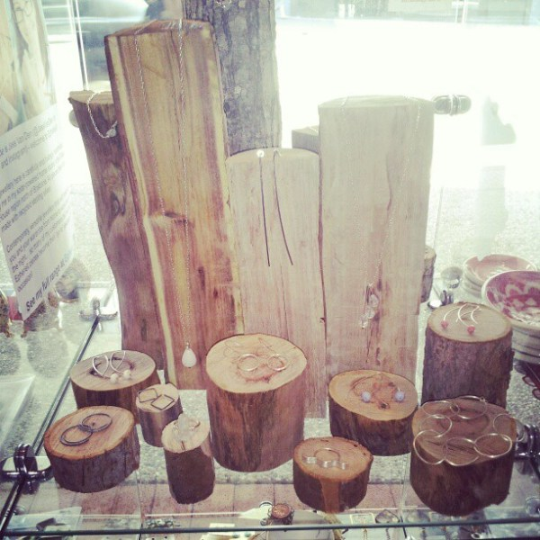 wooden logs used to make jewellery display jewelry