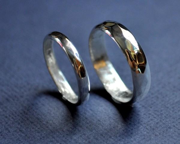 Wedding bands facets high shine set (2)