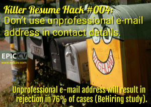 Killer Resume Hack #004: Don't use unprofessional e-mail address
