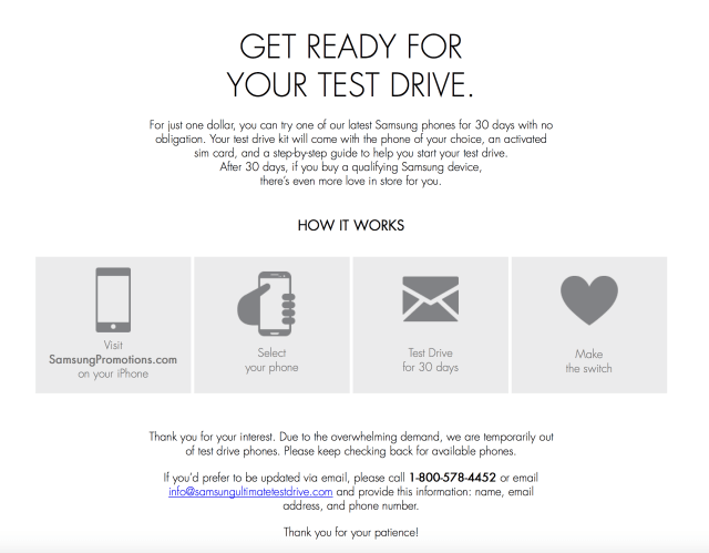 Samsung Test Drive - Out of Stock