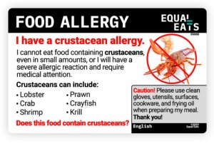 equal eats food allergy translation card