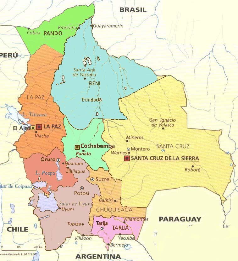 Mapa de Bolivia, con departamentos y capitales.